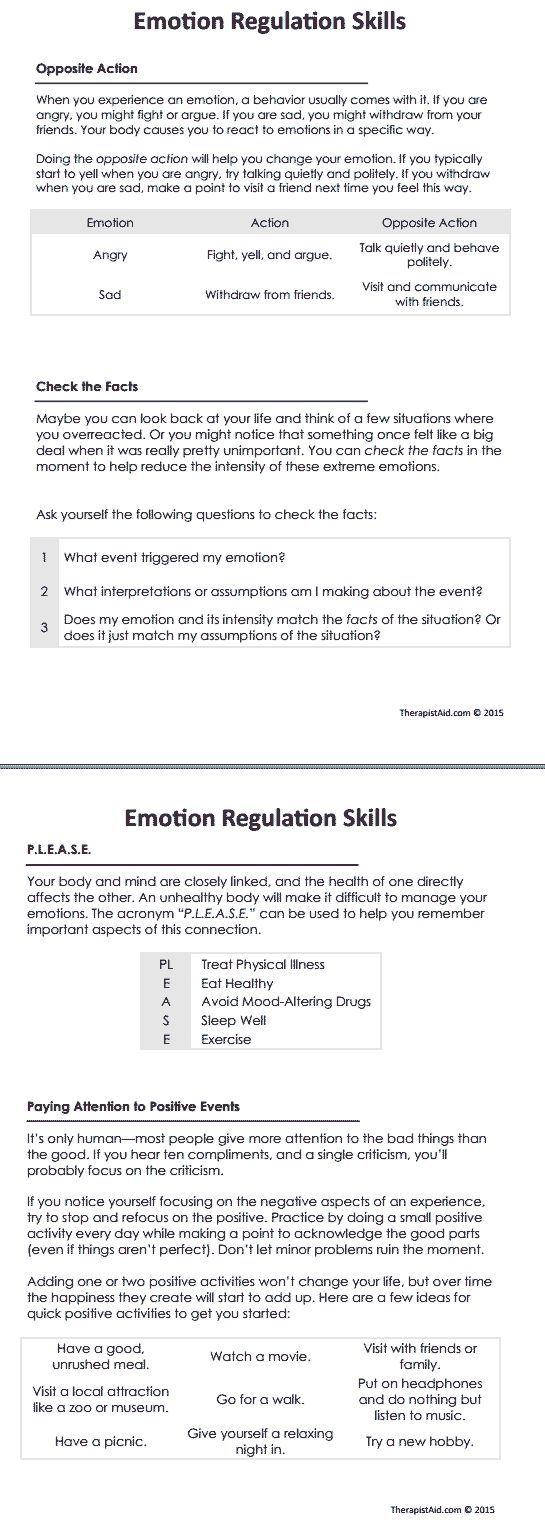 Dbt Emotion Regulation Skills Worksheet Therapist Aid