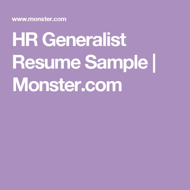 Resume : HR Generalist Resume Sample