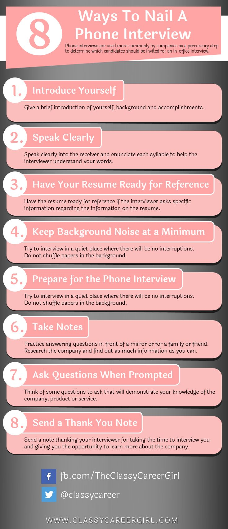 Career infographic : 8 Ways To Nail A Phone Interview - JobLoving ...