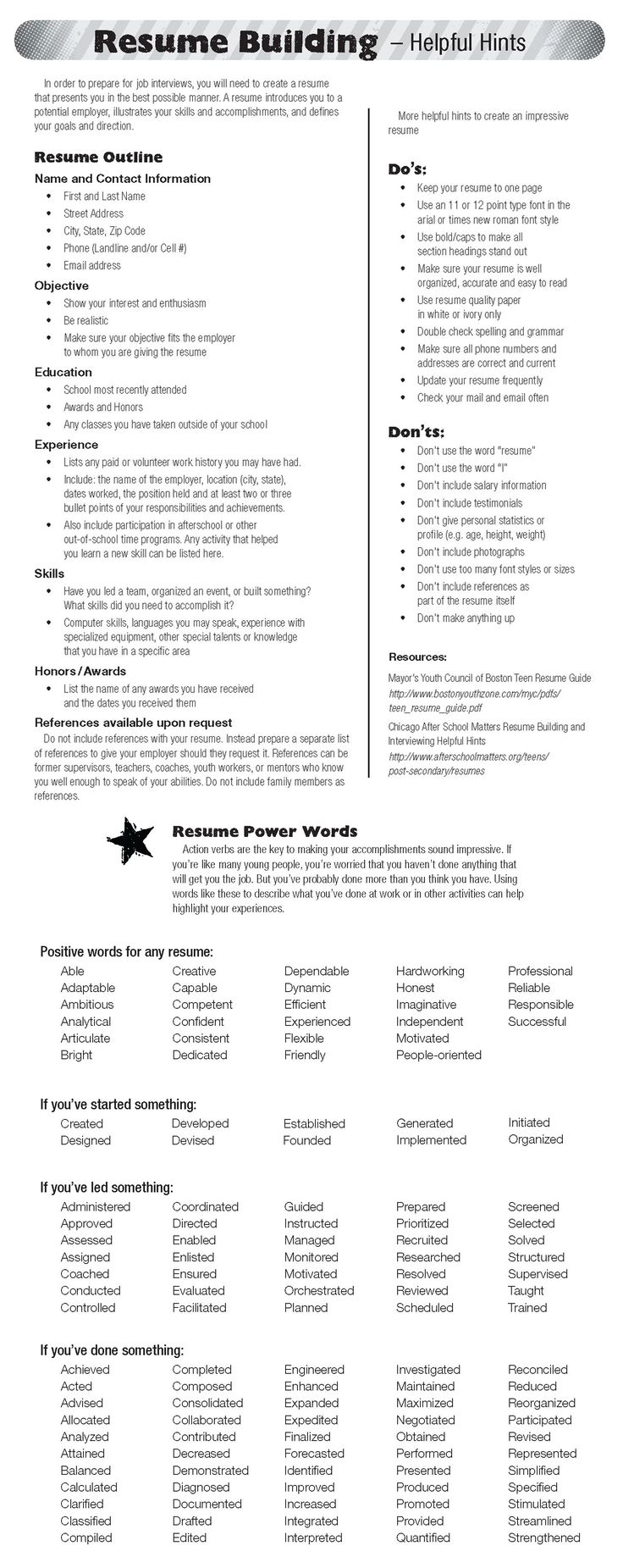 Resume Power Phrases | Template