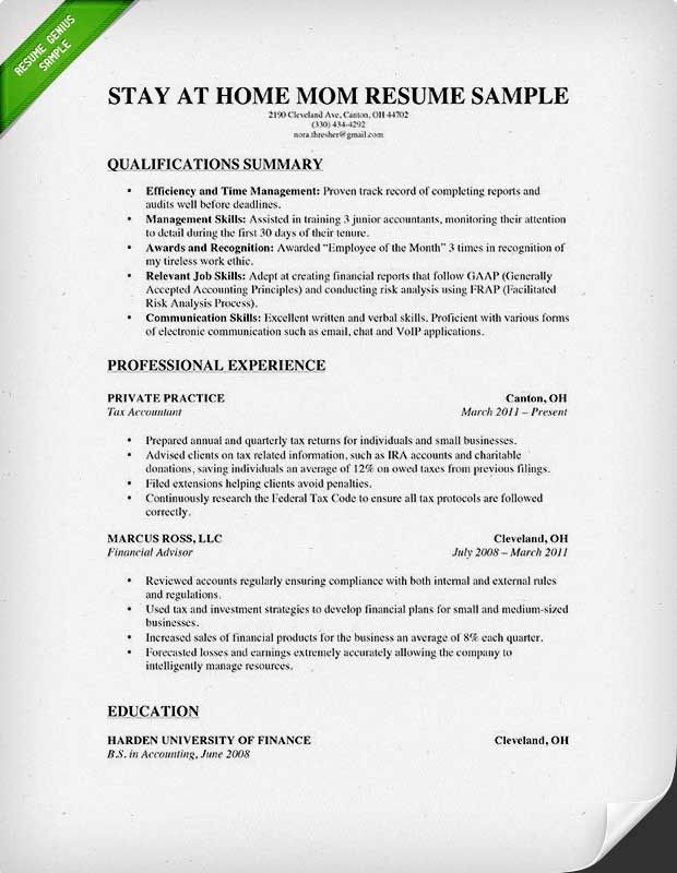 Resume How To Write A Stay At Home Mom Resume Resume
