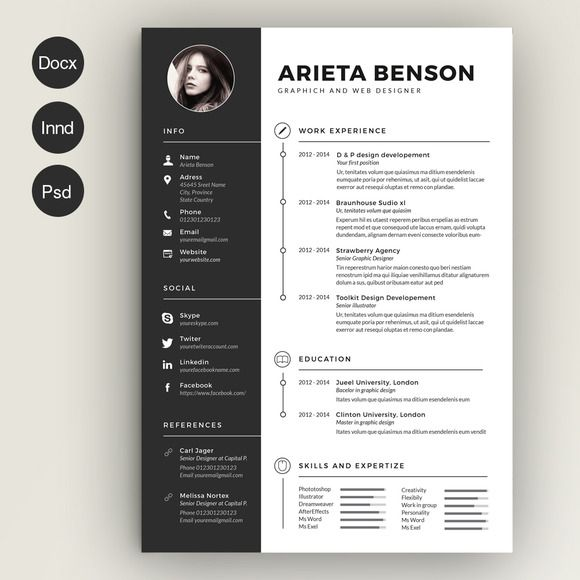 Resume Template Cv Design Psd Photoshop Word Vintage Docx
