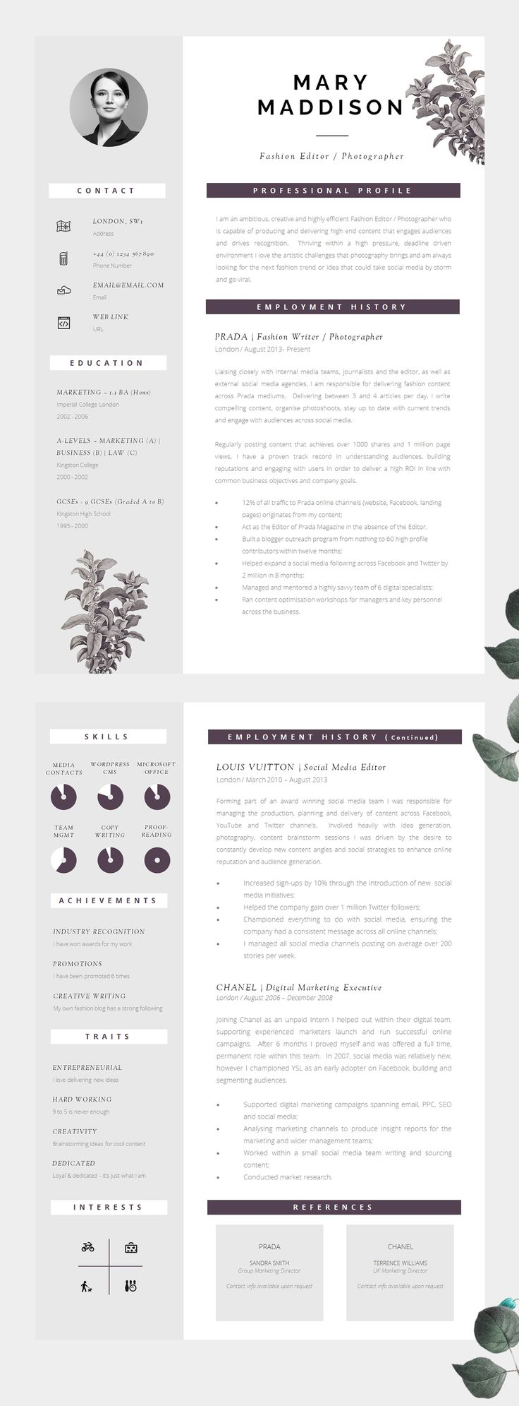 resume well designed cv modern yet professional