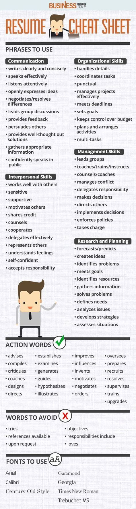 infographic   resume cheat sheet work business job