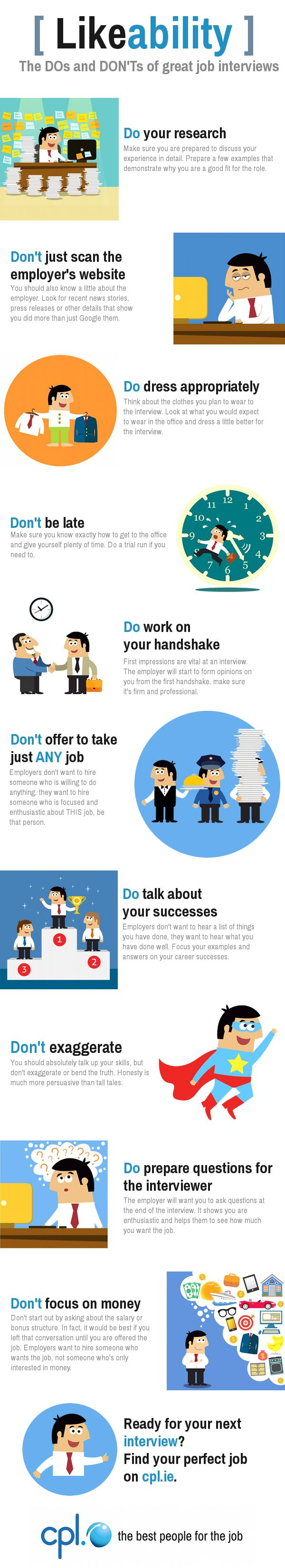 Infographic : The Dos And Donu0027ts Of Great Job Interviews From Cpl.ie #  Interviewtips