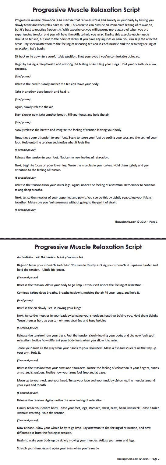 Progressive Muscle Relaxation Script. One Element Of CBT Therapy Is To  Learn Selu2026