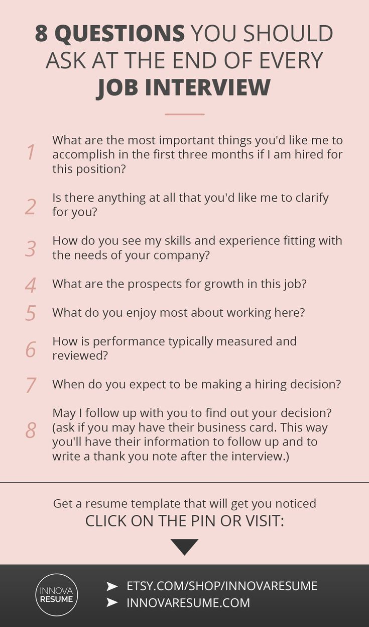 Career infographic : Questions you should ask at the end of every job interview. Need a resume that w…